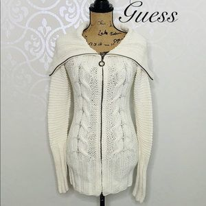 GUESS SMALL CREAM COLORED CABLE KNIT CARDIGAN